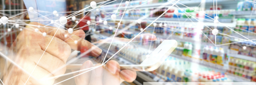 Deep learning , Neural networks , Machine learning and artificial intelligence concept. Atom connect and text with hand holding mobile phone and blur retail shop store background